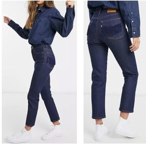 Levi's Wedgie Straight No Mans Land Fringe Jeans